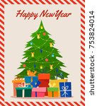 decorated christmas tree with... | Shutterstock .eps vector #753824014