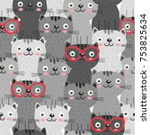 seamless pattern with gray cats ... | Shutterstock .eps vector #753825634
