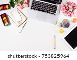 feminine workspace   worksplace ... | Shutterstock . vector #753825964