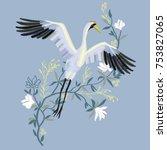 The Crane Embroidery  Vector...