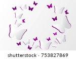 paper art origami in purple... | Shutterstock .eps vector #753827869