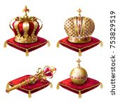 golden royal crowns  scepter... | Shutterstock .eps vector #753829519