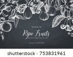 vintage frame with ripe fruits... | Shutterstock .eps vector #753831961