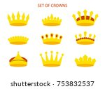 set of crowns. vector... | Shutterstock .eps vector #753832537
