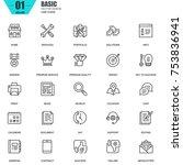 thin line basic icons set for... | Shutterstock .eps vector #753836941