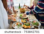 mid section group of young... | Shutterstock . vector #753842701