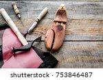 clobber's desk. tools  wooden... | Shutterstock . vector #753846487