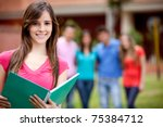 female student carrying... | Shutterstock . vector #75384712