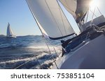 sailing in the wind through the ... | Shutterstock . vector #753851104