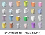 big set of realistic white and... | Shutterstock .eps vector #753855244