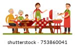 happy family picnic barbecue... | Shutterstock .eps vector #753860041