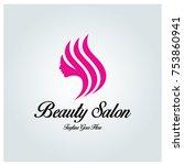 beauty salon logo design... | Shutterstock .eps vector #753860941