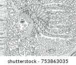 shamanic forest spirit. doodle... | Shutterstock .eps vector #753863035