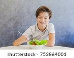 portrait of teen boy eating... | Shutterstock . vector #753864001