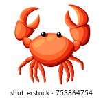 Colorful red crab vector illustration. Sea creature in flat design. Shell crab icon isolated on white background. Water animal with claws