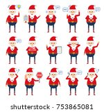 set of santa claus characters... | Shutterstock .eps vector #753865081