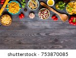 different types of pasta with... | Shutterstock . vector #753870085