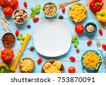 different types of pasta with... | Shutterstock . vector #753870091