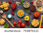different types of pasta with... | Shutterstock . vector #753870121