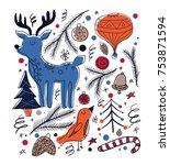 christmas card in scandinavian... | Shutterstock .eps vector #753871594