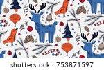christmas seamless pattern in... | Shutterstock .eps vector #753871597