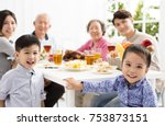 happy asian family having... | Shutterstock . vector #753873151