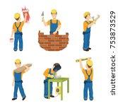construction work set on white... | Shutterstock . vector #753873529