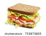 sandwich with ham and vegetables | Shutterstock . vector #753873805