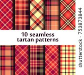 set of seamless tartan pattern | Shutterstock .eps vector #753873844