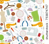 seamless pattern of tools for... | Shutterstock .eps vector #753874747