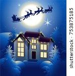 Santa Claus In Sleigh Reindeer...