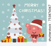 merry christmas  greeting card... | Shutterstock .eps vector #753876067