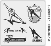 set of ice skating labels ... | Shutterstock .eps vector #753880549