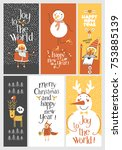 set of holiday cards   merry... | Shutterstock .eps vector #753885139