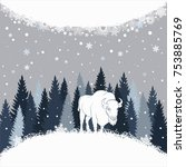 card with bison on the forest...