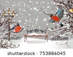 christmas card. snow covered... | Shutterstock .eps vector #753886045