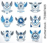 collection of vector heraldic...   Shutterstock .eps vector #753887605
