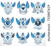 collection of vector heraldic...   Shutterstock .eps vector #753887629