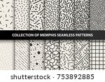 Stock vector collection of memphis seamless patterns fashion s you can find seamless backgrounds in 753892885