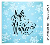 postcard hello winter wiht cute ... | Shutterstock .eps vector #753892975