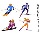 set ross country skiing boy and ... | Shutterstock .eps vector #753893041