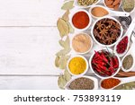 various herbs and spices for... | Shutterstock . vector #753893119