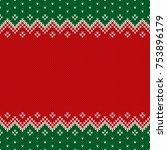 christmas design knitted... | Shutterstock .eps vector #753896179