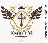 old style heraldry  heraldic... | Shutterstock .eps vector #753905245