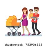 young family and baby walking...   Shutterstock .eps vector #753906535