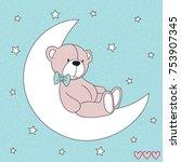 cute teddy bear animal on the... | Shutterstock .eps vector #753907345