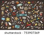 colorful vector hand drawn... | Shutterstock .eps vector #753907369