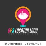 creative gps city locator logo... | Shutterstock . vector #753907477