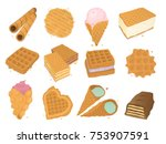different wafer cookies waffle... | Shutterstock .eps vector #753907591