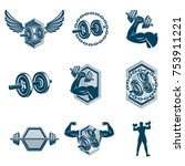 set of vector cross fit and... | Shutterstock .eps vector #753911221